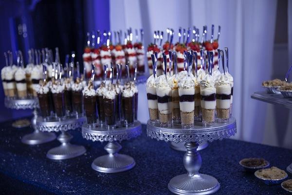 an assortment of miniature desserts at a Doko Manor wedding