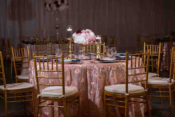 North Charleston wedding reception in blush and burgundy with navy and gold accents