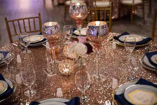 blush and rose gold tablescape at a Sophisticated Affairs wedding reception in North Charleston