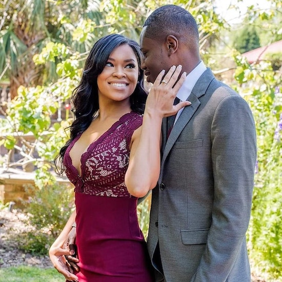 South Carolina bride and groom to be posing for engagement photos