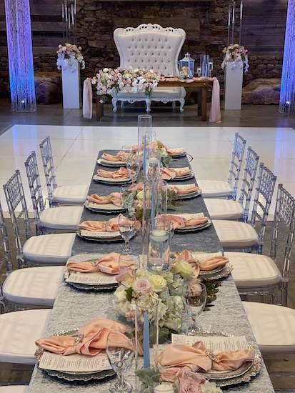 catawba falls event center wedding in blush and dusty blue