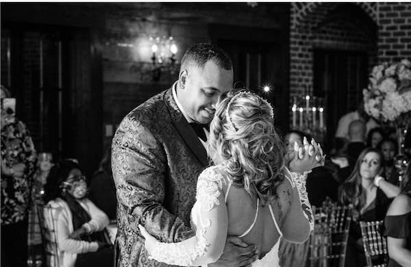 black and white photo of a couple's first dance at the catawba falls event center
