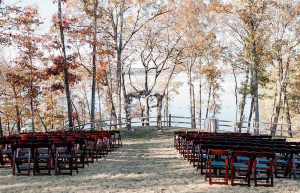 outdoor wedding ceremony at the Catawba Falls Event Center